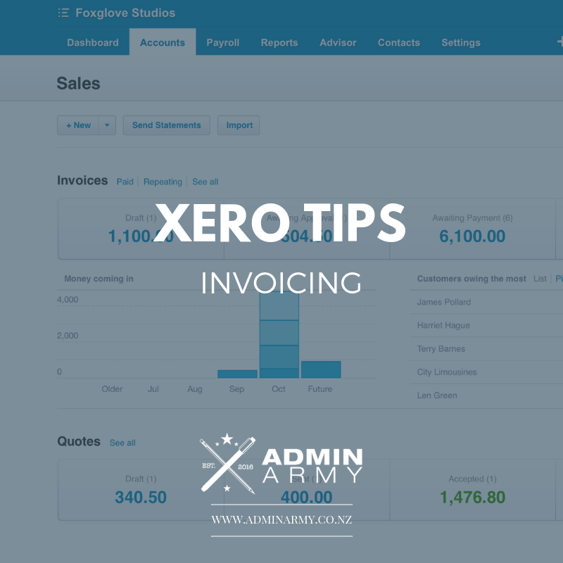 admin-army-bookkeeping-virtual-assistant-nz-xero-tips-invoicing